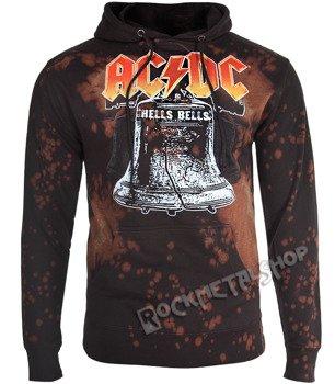 bluza AC/DC - HELLS BELLS, kangurka z kapturem barwiona