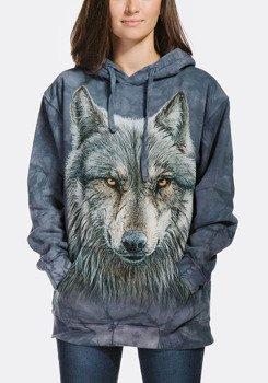 bluza THE MOUNTAIN - WARRIOR WOLF, kangurka z kapturem, barwiona