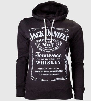 bluza damska JACK DANIELS - LOGO czarna, z kapturem