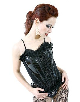 gorset CONFESS COTTON/PVC BLACK (L-4-78-010-00)
