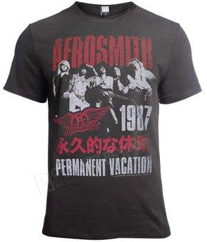koszulka AEROSMITH - PERMANENT, ciemnoszara