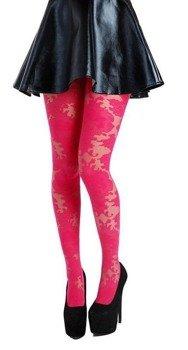 rajstopy Ornate Lace/Hot Pink