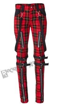 spodnie damskie AMENOMEN - ZIPPS AND BELTS tartan red