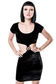sukienka KILL STAR - STACIA SHES A HOODBAT VELVET
