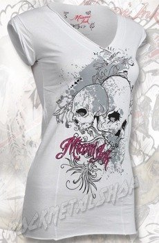 tunika damska MIAMI INK - WHITE SKULLS GIRLIE