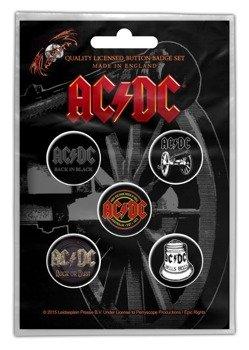 zestaw 5 szt. przypinek AC/DC