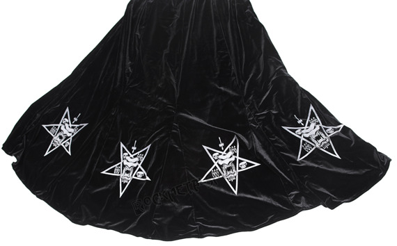 spódnica LONG VELVET WITH PENTAGRAM, Omen