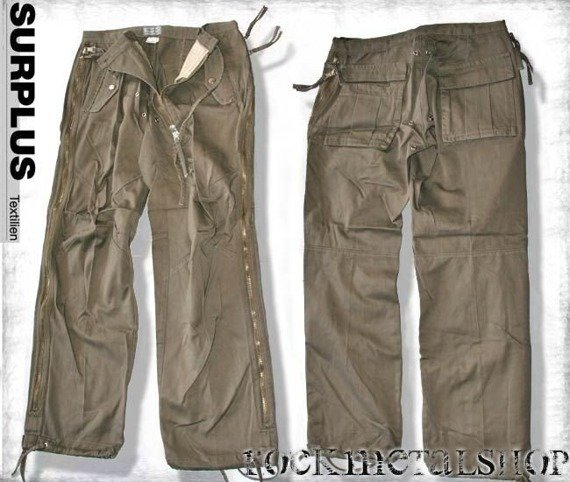 spodnie bojówki SQUARED ZIPP HOSE - kolor oliwkowy