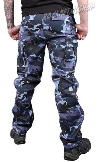 spodnie bojówki US RANGER HOSE - BLAU-TARN niebiesko-czarna panterka