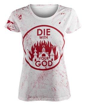 bluzka damska AMENOMEN - DIE WITH YOUR GOD (OMEN071DA WHITE ALLPRINT RED)
