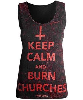 bluzka damska AMENOMEN - KEEP CALM AND BURN CHURCHES na ramiączkach (OMEN069DAR ALLPRINT RED)