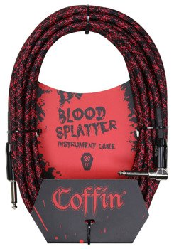 "kabel do gitary COFFIN ""BLOOD SPLATTER"" CF-ICBS20R / jack kątowy/prosty / 6m"
