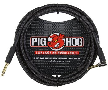 "kabel do gitary PIG HOG ""Black Woven"" jack kątowy-prosty, 3m"