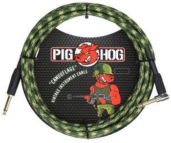 "kabel do gitary PIG HOG ""Camouflage"" jack kątowy-prosty, 3m"