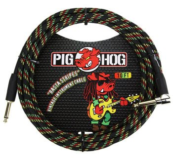 "kabel do gitary PIG HOG ""Rasta Stripes"" jack kątowy-prosty, 3m"