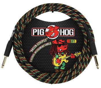"kabel do gitary PIG HOG ""Rasta Stripes"" jack prosty, 3m"