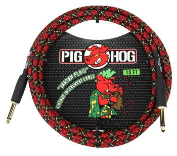 "kabel do gitary PIG HOG ""Tartan Plaid"" jack prosty, 3m"