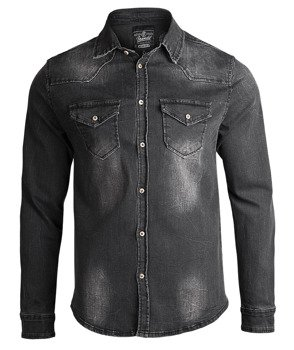 koszula RILEY DENIMSHIRT black, jeansowa