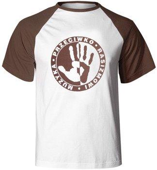 koszulka MUZYKA PRZECIWKO RASIZMOWI (biało-brązowa)
