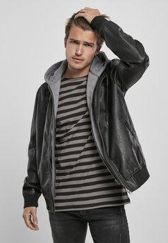 kurtka FLEECE HOODED FAKE LEATHER JACKET
