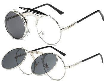 okulary LENONKI STEAMPUNK SILVER BLACK, otwierane