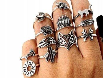 pierścionek PUNK GOTHIC, zestaw 12 szt