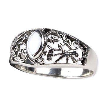 pierścionek WHITE ORNAMENT, srebro 925