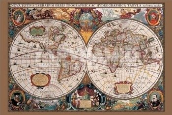 plakat 17TH CENTURY WORLD MAP (GOLD INK)