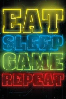 plakat GAMING - EAT SLEEP GAME REPEAT