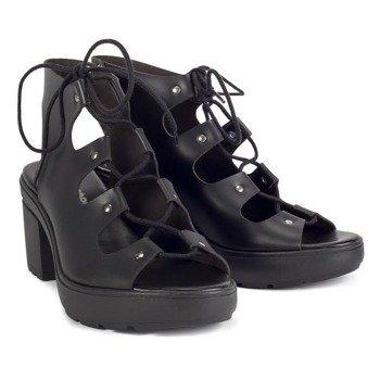 sandały damskie na obcasie ALTERCORE czarne (GRACE BLACK)