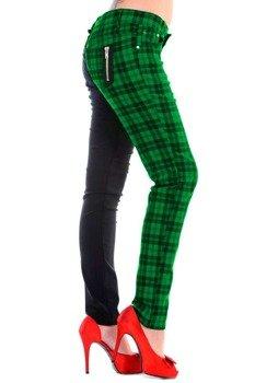 spodnie damskie BANNED - BLACK/GREEN CHECK