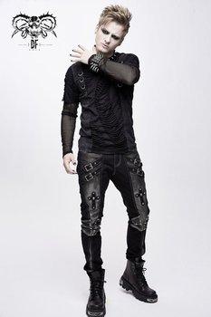 spodnie męskie PUNK RAVE - CROSS (black with silver)