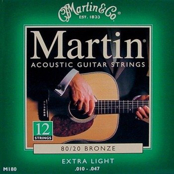 struny do gitary akustycznej 12str. MARTIN M180 - 80/20 BRONZE Extra Light /010-047/