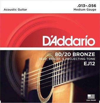 struny do gitary akustycznej D'ADDARIO - 80/20 BRONZE / Medium EJ12 /013-056/