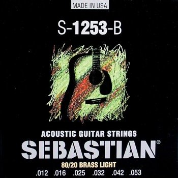 struny do gitary akustycznej SEBASTIAN S-1253-B: 80/20 BRASS Light /012-053/