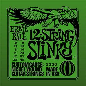 struny do gitary elektrycznej 12str. ERNIE BALL EB2230 Slinky Nickel /008-040/