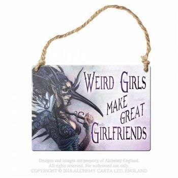 "tabliczka z metalu ""WERID GIRLS MAKE GREAT GIRLFRIENDS..."""