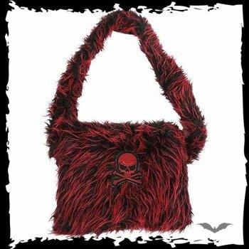 torba RED/BLACK FUR BAG WITH PURPLE SKULL