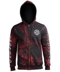 bluza AMENOMEN - BAPHOMET rozpinana, z kapturem (OMEN027CR ALLPRINT RED)