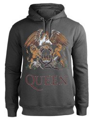 bluza QUEEN - ROYAL CREST, z kapturem, szara