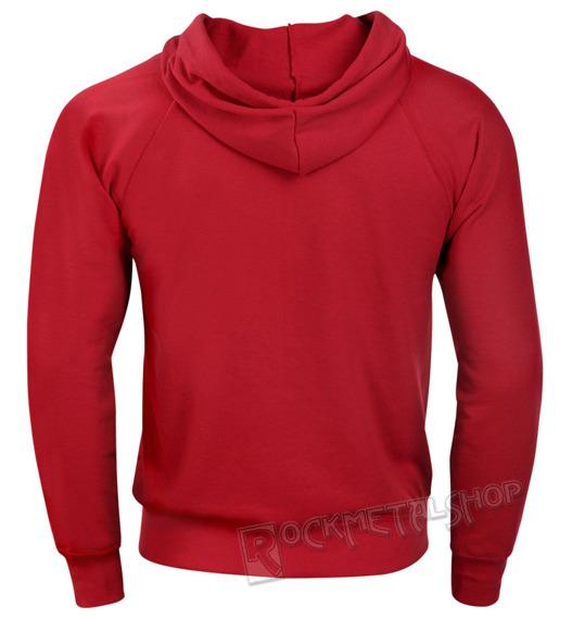 bluza FRUIT OF THE LOOM - RED bez nadruku, rozpinana z kapturem