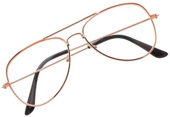 okulary przeciwsłoneczne AVIATOR ZERÓWKI ZŁOTY