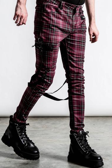spodnie męskie KILLSTAR - SONIC DOOM (BLOOD TARTAN)