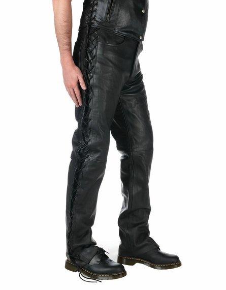 spodnie skórzane UNIK, proste z bocznymi rzemieniami UNISEX