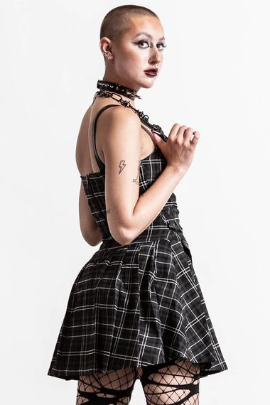 sukienka KILLSTAR - DISTORTION (ASH TARTAN)